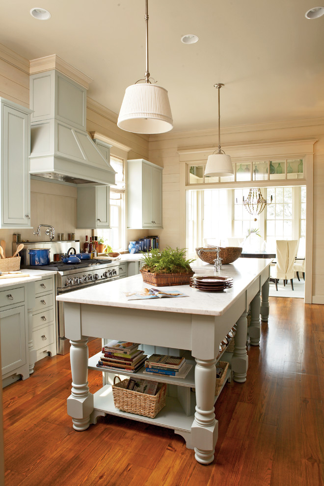 Example of a beach style galley eat-in kitchen design in Atlanta with shaker cabinets, gray cabinets, stainless steel appliances and marble countertops