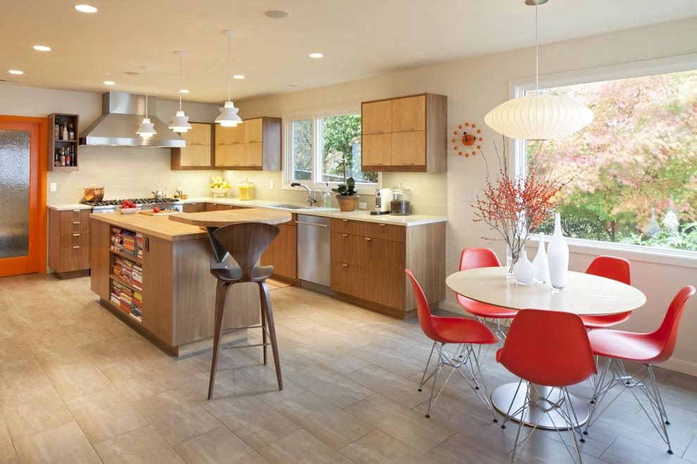 Minimalist kitchen photo in Portland with stainless steel appliances