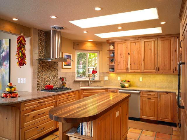 Carmel southwest knotty cherry kitchen southwestern for Rustic home albuquerque