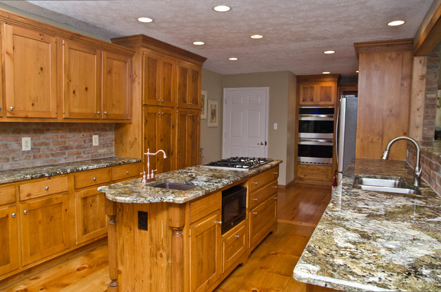 Carnival Granite And Pine Cabinets Eclectic Kitchen