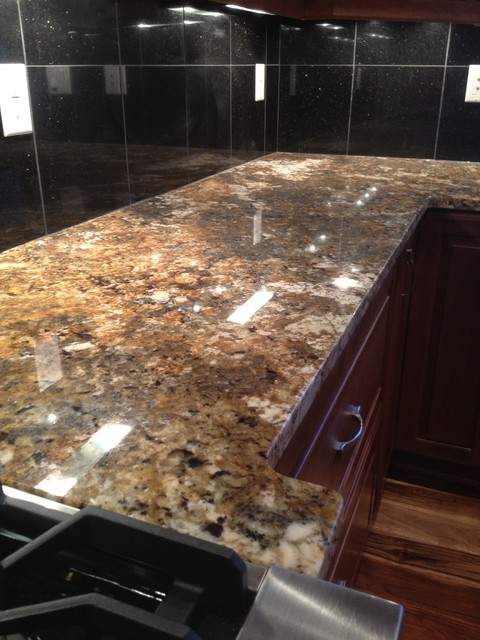 Carnival granite with black galaxy island and black galaxy for 3 4 inch granite countertops
