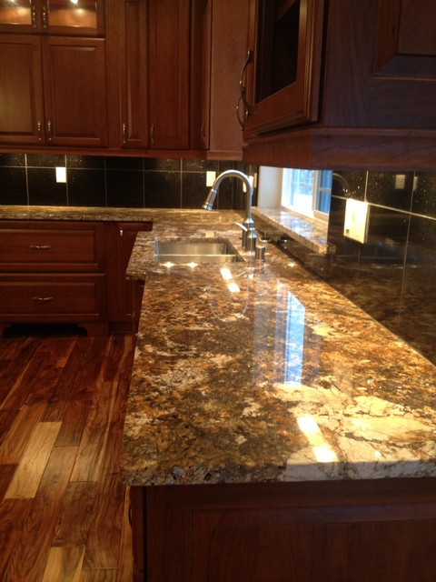 Carnival Granite With Black Galaxy Island And Black Galaxy 12x12 Tiles Kitchen Other By North Coast Countertops