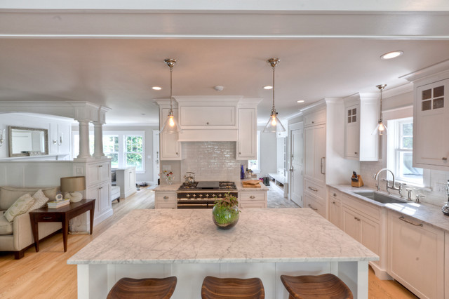 Honed Carrara Marble Counter Tops And Island Contemporary Kitchen