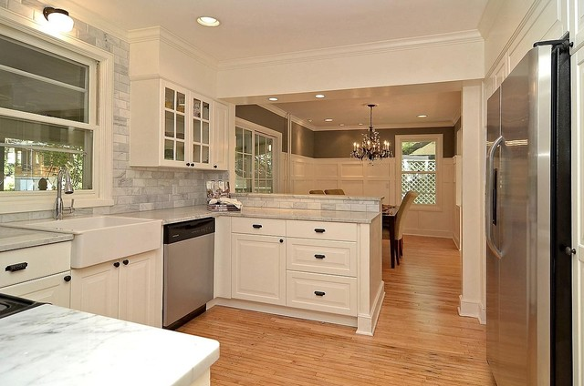Carrara Marble Gray Grey And White Kitchen Traditional