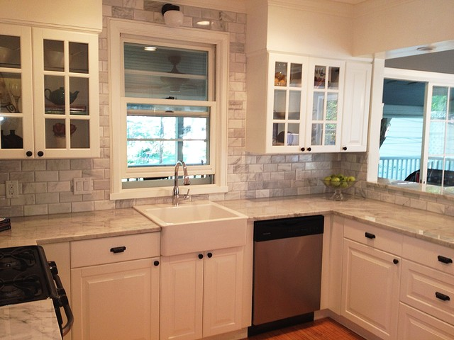 Carrara Marble Grey/Gray And White Kitchen With Stainless Steel ...