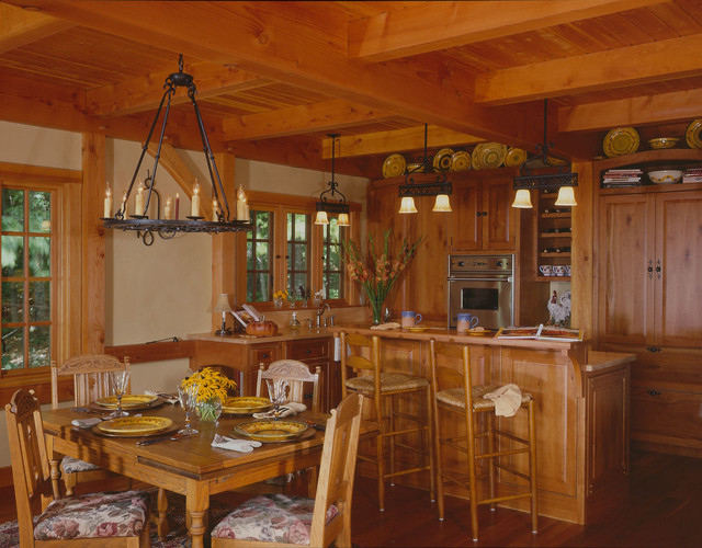 Carriage house great room traditional kitchen boston for Carriage house kitchen cabinets