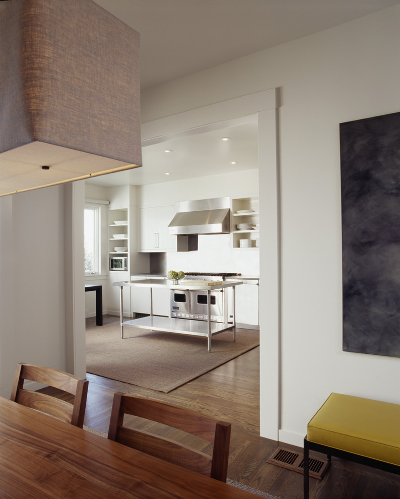 Transitional single-wall kitchen photo in San Francisco with stainless steel appliances, flat-panel cabinets and white cabinets