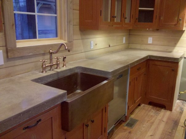 Cast n place concrete countertops traditional kitchen birmingham