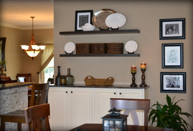 Casual Orange, Blue and Gray Family Room  Traditional  Kitchen