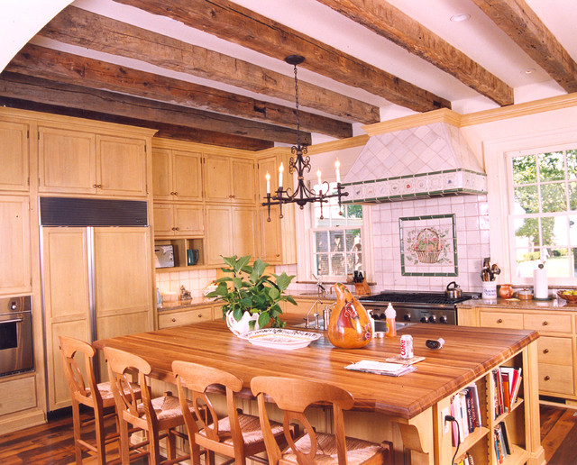 Casual Rustic Kitchen in a new, formal, Georgian-style home traditional-kitchen