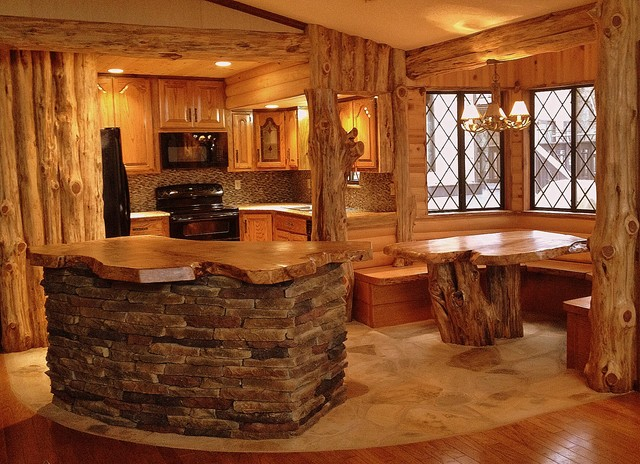 Cedar Log Kitchen Breakfast Nook After Rustic Kitchen