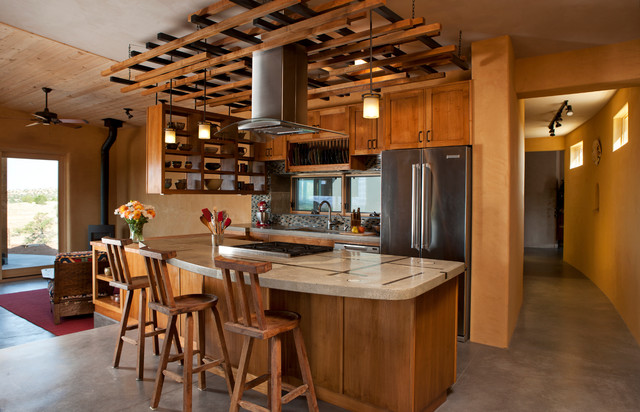 Ceiling trellis over custom kitchen southwestern for Southwestern kitchen designs