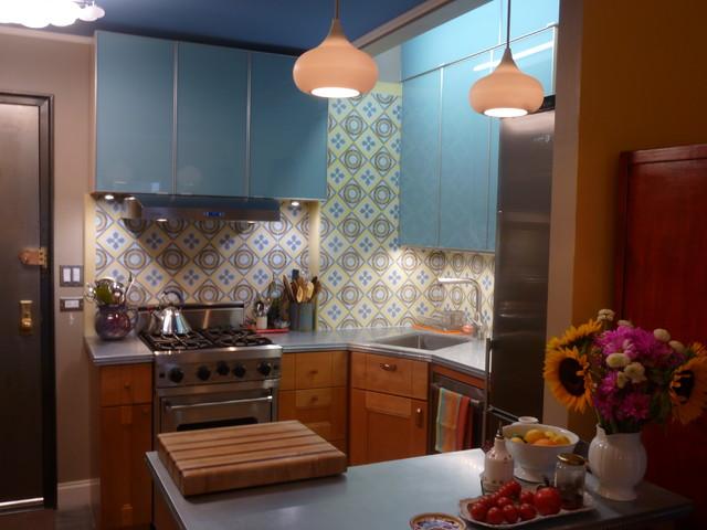 cement tile backsplash makes a chelsea kitchen remodel eclectic