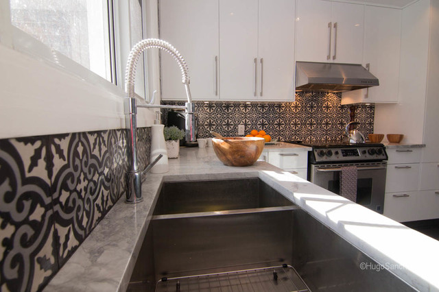 Cement Tiles Backsplash Contemporary Kitchen Montreal By Ceramiques Hugo Sanchez Inc
