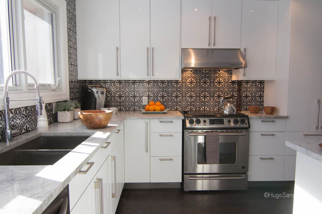 cement tiles backsplash contemporary kitchen montreal by