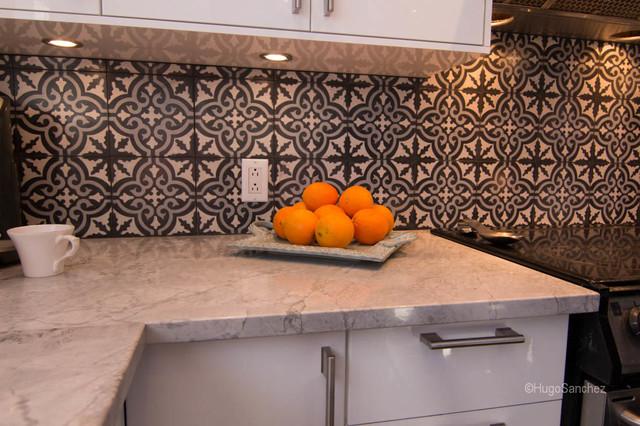 Cement tiles backsplash contemporary-kitchen