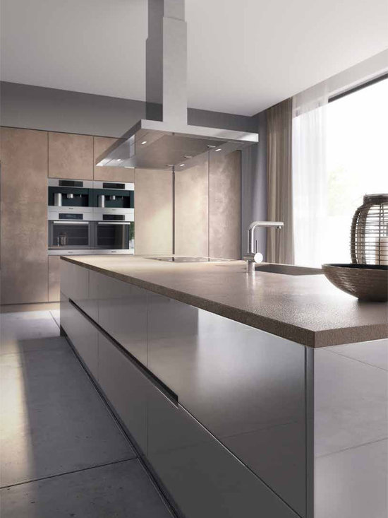 ... -Panel Cabinets, Concrete Countertops, Porcelain Floors and an Island