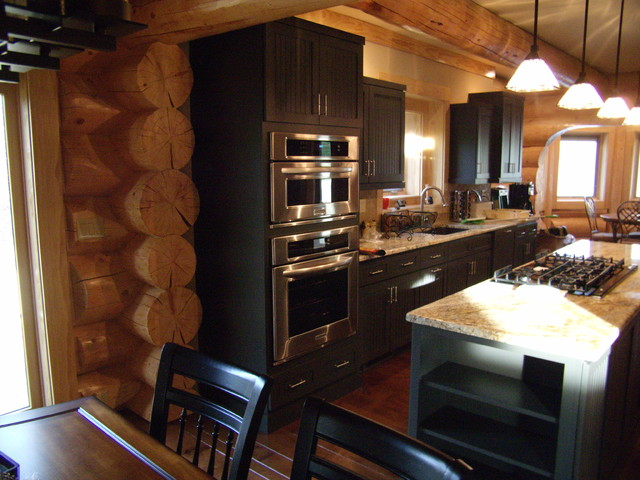 Center Log Home traditional-kitchen