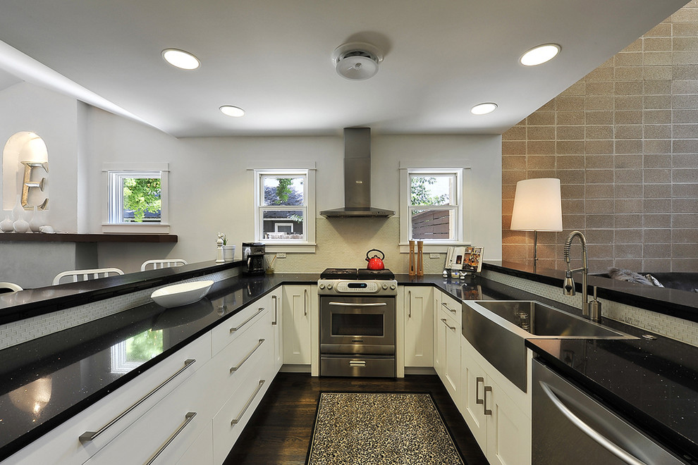 Kitchen - transitional kitchen idea in Austin with stainless steel appliances and a farmhouse sink
