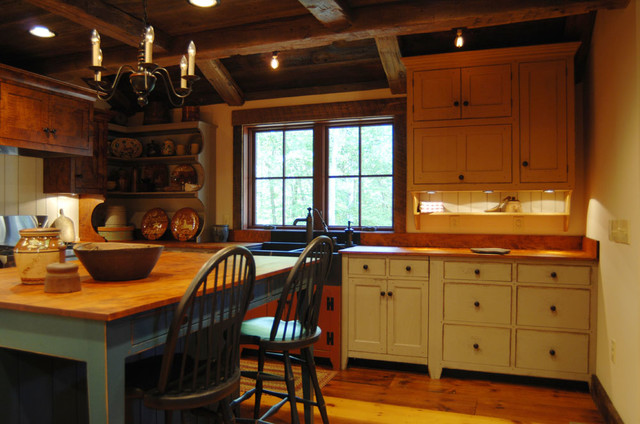 Central Kentucky Log Cabin Primitive Kitchen - Eclectic - Kitchen ...