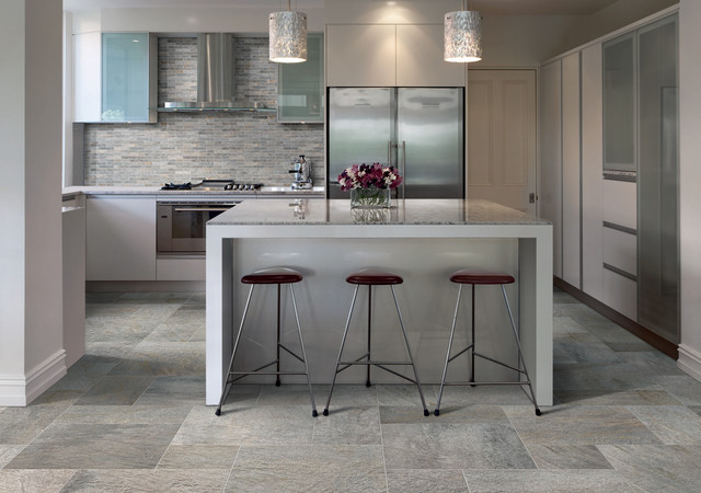Ceramic porcelain tile ideas contemporary kitchen for Ceramic tile kitchen floor ideas