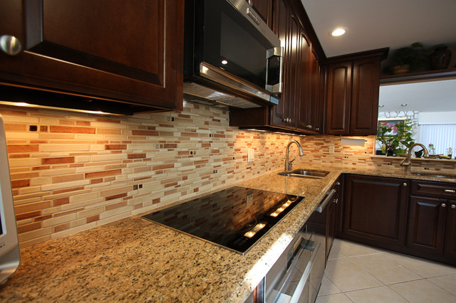 Ceramic Tile Backsplash Contemporary Kitchen