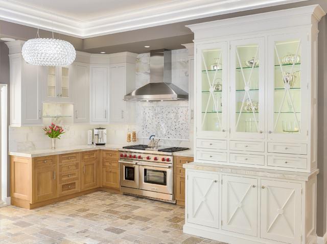 Cerused oak custom white inset kitchen transitional for Cerused oak kitchen cabinets