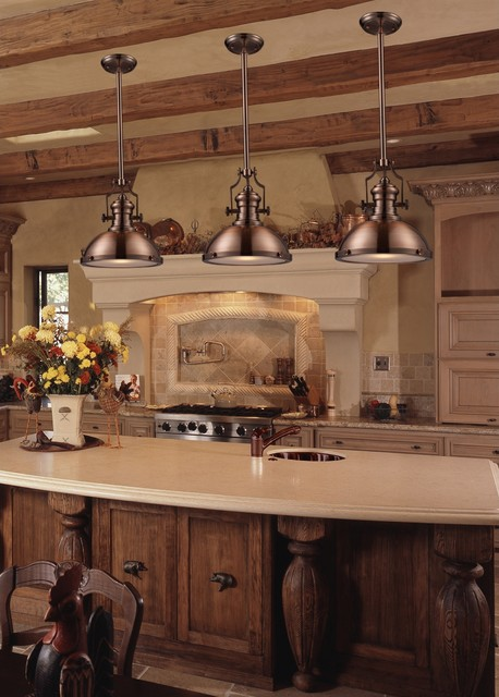 Industrial Antique Copper Kitchen Pendant Lighting traditional kitchen