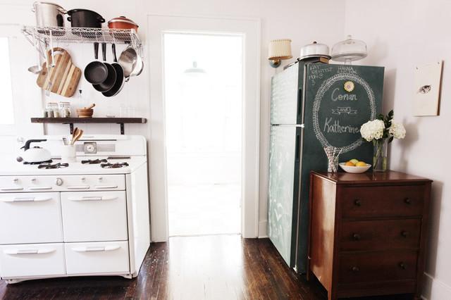 Chalkboard Fridge And Vintage Stove Eclectic Kitchen Wichita
