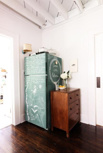 Chalkboard Paint Fridge eclectic-kitchen