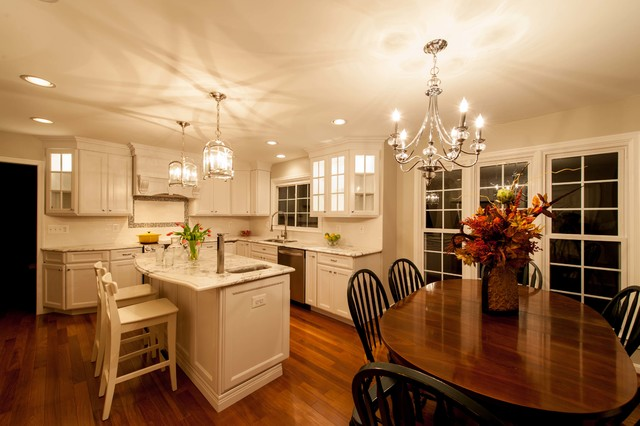 Chandeliers and Hanging Pendants Brighten Up Centreville, Virginia Kitchen traditional-kitchen
