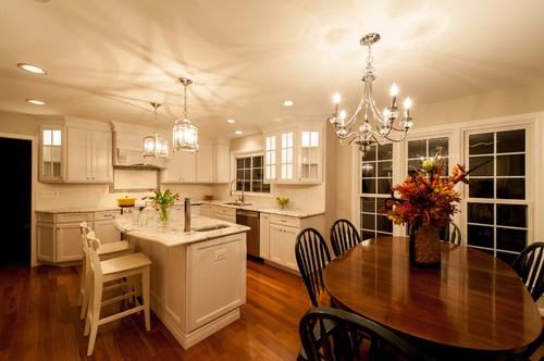 Chandeliers and Hanging Pendants Brighten Up Centreville, Virginia Kitchen