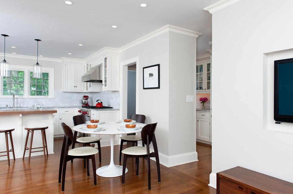 Inspiration for a transitional kitchen remodel in New York with subway tile backsplash