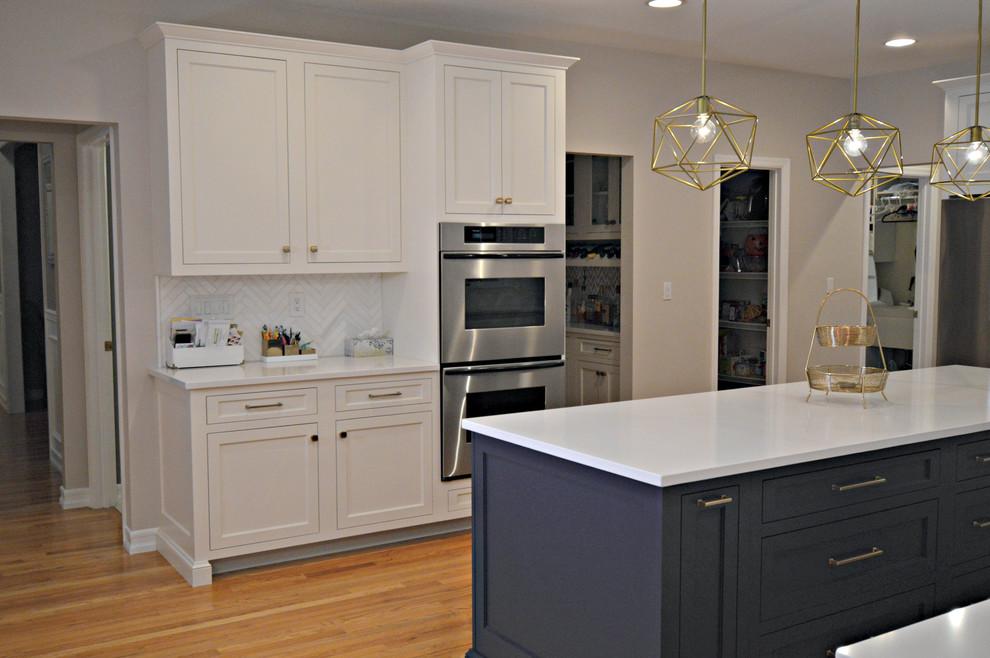 Chappaqua NY - Custom White & Navy Cabinets w/ Honey ...