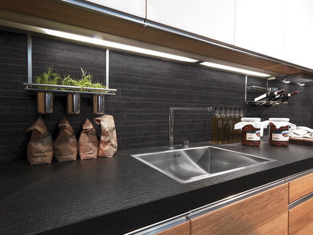 Charcoal Mosaic Kitchen Splashback Contemporary