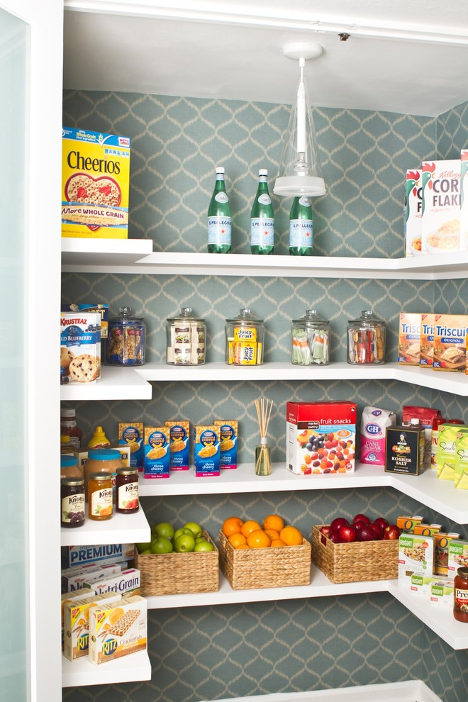 Example of a transitional kitchen pantry design in Los Angeles with open cabinets and white cabinets