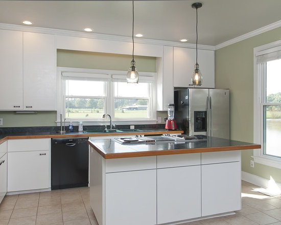 Kitchen Pantry Design Photos with an Island, Flat-panel Cabinets ...
