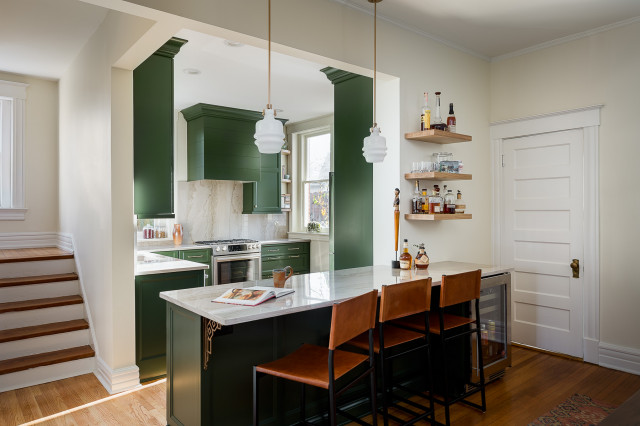 Deep Green Cabinets Star In 136 Square Feet
