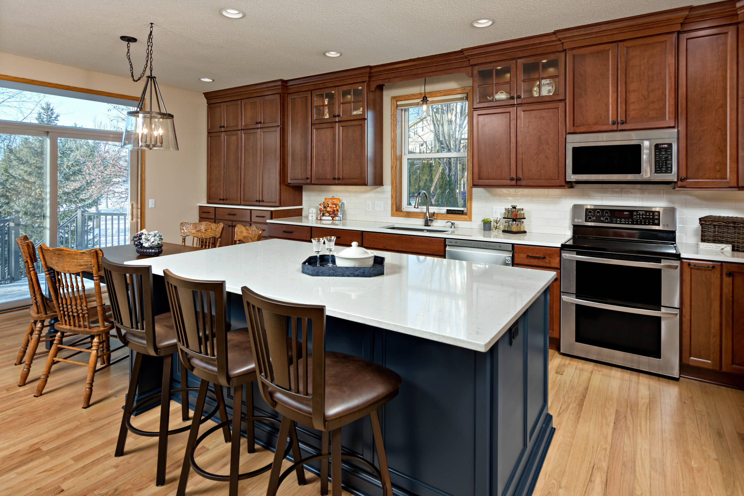 White Island Cherry Cabinets Kitchen Ideas Photos Houzz