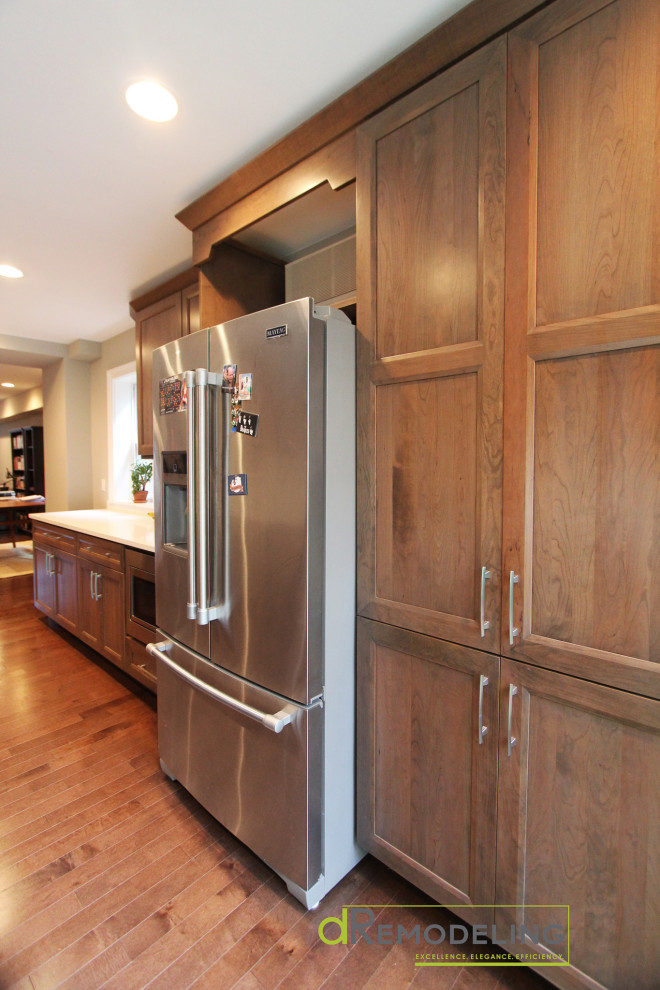 Cherry Cabinet Pantry Space with Inset Refrigerator ...