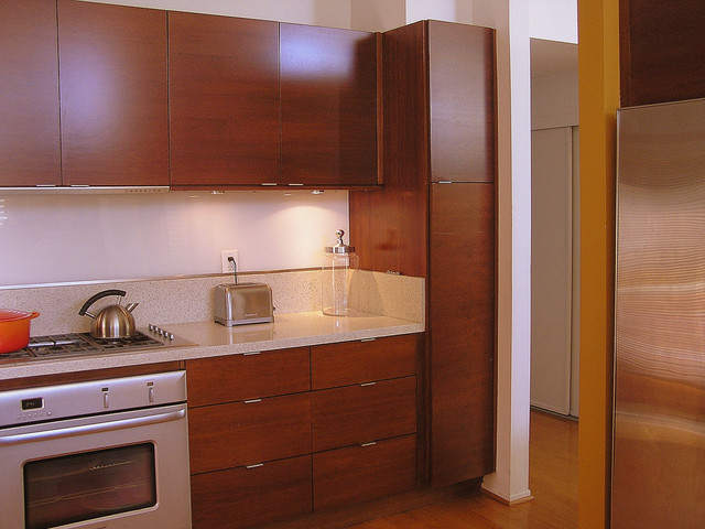 Cherry Cabinetry Kitchen Midcentury Kitchen