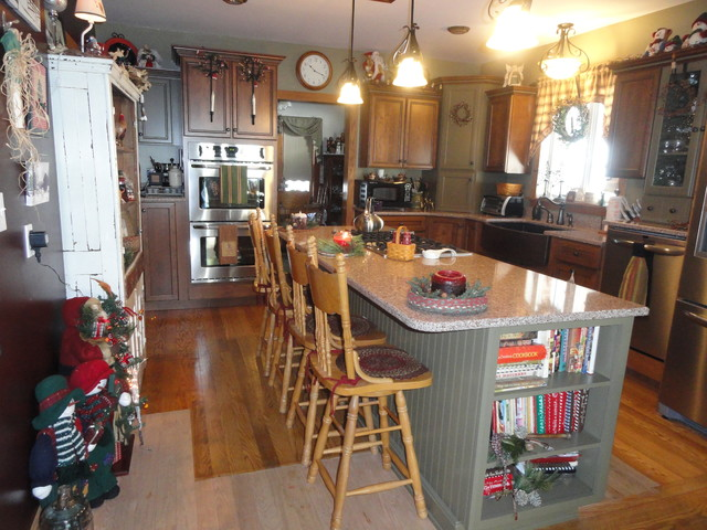 Cherry Cabinetry with Custom Paint Accents traditional-kitchen