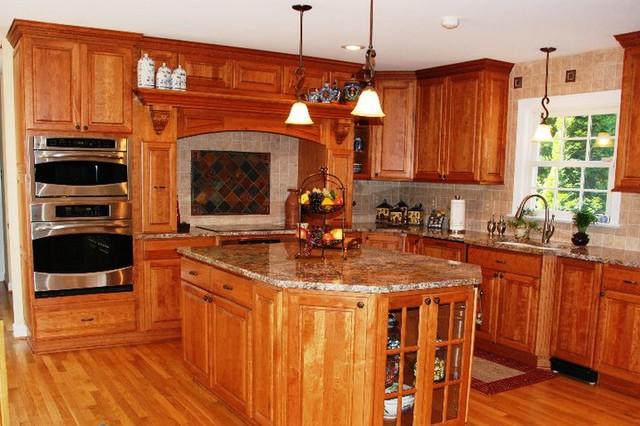 cherry cabinets granite tops tile backsplash