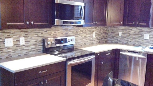 Cherry Cabinets Mosaic Backsplashtraditional Kitchen Boston