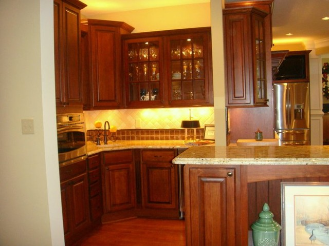 Cherry Cabinets With Chocolate Glaze