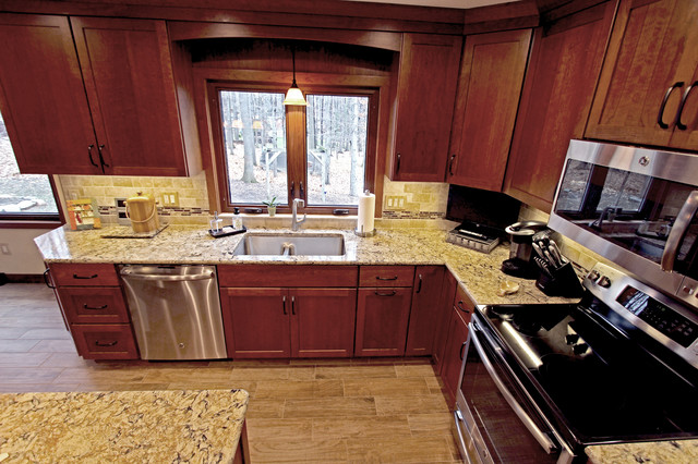 Cherry Cabinets With Quartz Countertop Strongsville Oh 1