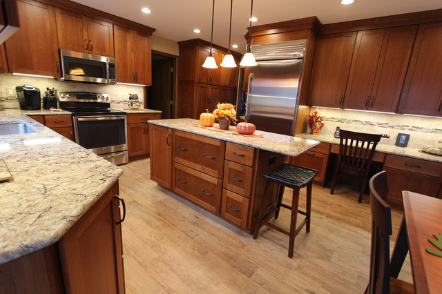 Cherry Cabinets with Quartz Countertop ~ Strongsville, OH #1 - Transitional - Kitchen ...