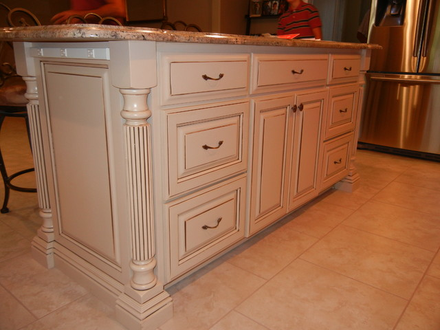 Cherry cabinets with white island for Cherry and white kitchen cabinets