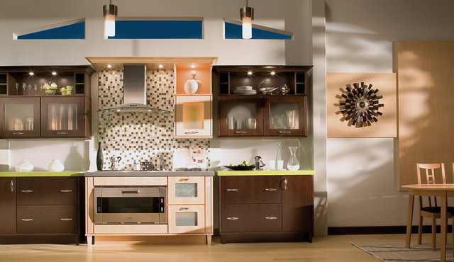 Cherry expresso and natural maple contemporary kitchen for Kitchen design 60035