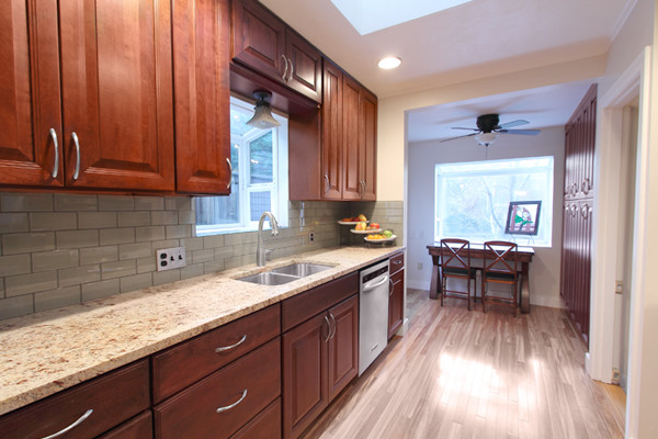 Tile Backsplash And Cherry Cabinet Houzz